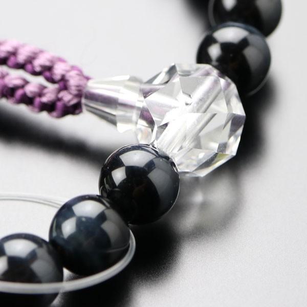 数珠 女性用 約8ミリ 青虎目石 カット水晶 2色梵天房 数珠袋付き|nenjyu|03