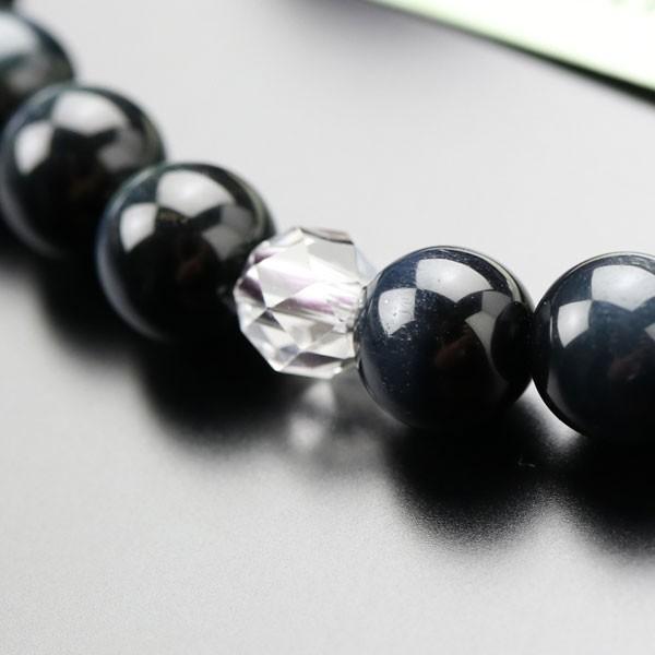 数珠 女性用 約8ミリ 青虎目石 カット水晶 2色梵天房 数珠袋付き|nenjyu|04