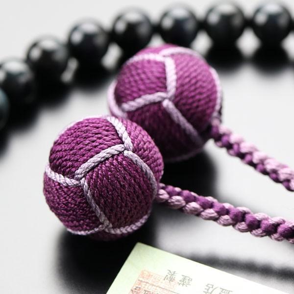 数珠 女性用 約8ミリ 青虎目石 カット水晶 2色梵天房 数珠袋付き|nenjyu|05