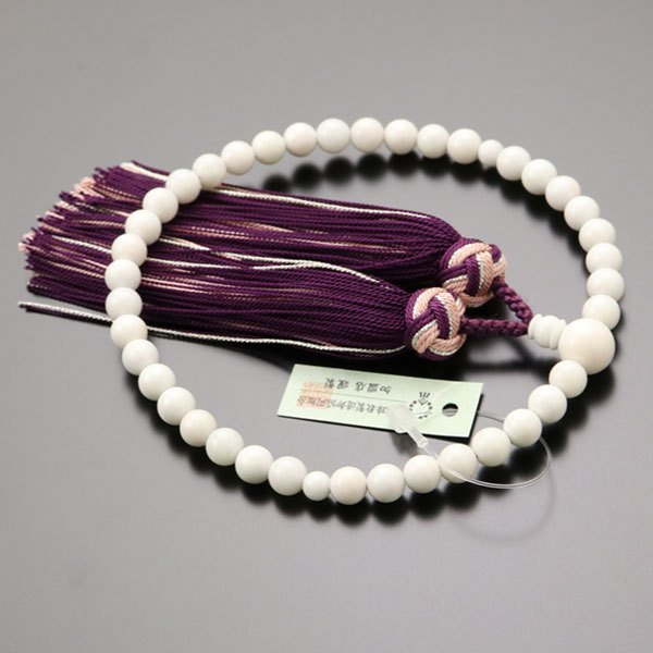 数珠 女性用 約6ミリ 白珊瑚 正絹松風房 数珠袋付き|nenjyu|02