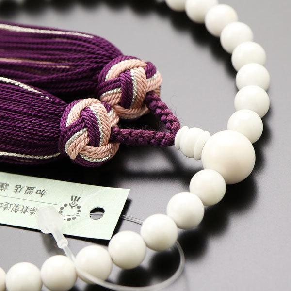 数珠 女性用 約6ミリ 白珊瑚 正絹松風房 数珠袋付き|nenjyu|03