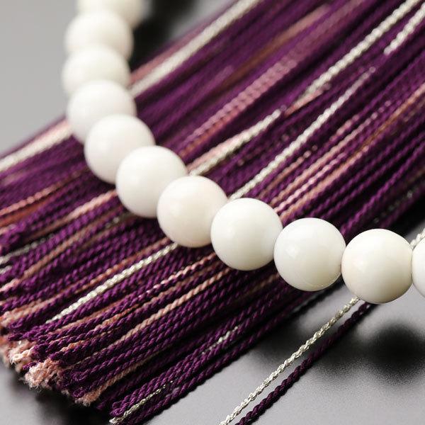 数珠 女性用 約6ミリ 白珊瑚 正絹松風房 数珠袋付き|nenjyu|04