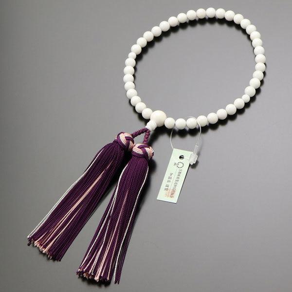 数珠 女性用 約6ミリ 白珊瑚 正絹松風房 数珠袋付き|nenjyu|05