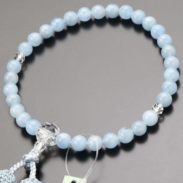 数珠 女性用 約8ミリ アクアマリン カット水晶 正絹房 数珠袋付き|nenjyu