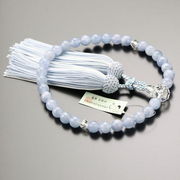 数珠 女性用 約8ミリ アクアマリン カット水晶 正絹房 数珠袋付き|nenjyu|02