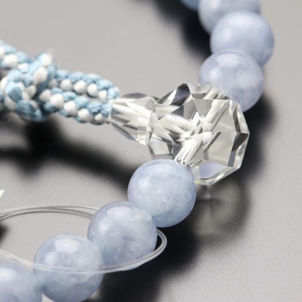 数珠 女性用 約8ミリ アクアマリン カット水晶 正絹房 数珠袋付き|nenjyu|03