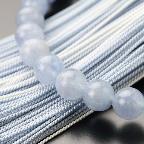 数珠 女性用 約8ミリ アクアマリン カット水晶 正絹房 数珠袋付き|nenjyu|04