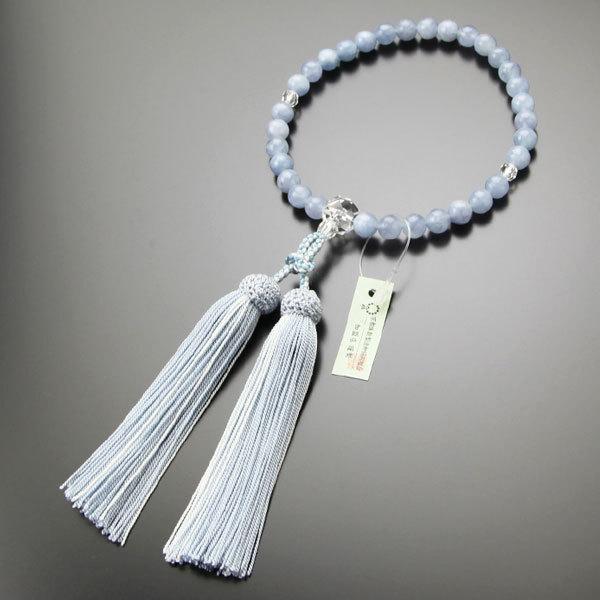 数珠 女性用 約8ミリ アクアマリン カット水晶 正絹房 数珠袋付き|nenjyu|05