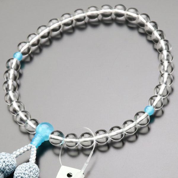 数珠 女性用 新着セール 約8ミリ 本水晶 数珠袋付き 年間定番 シーブルーカルセドニー 正絹房