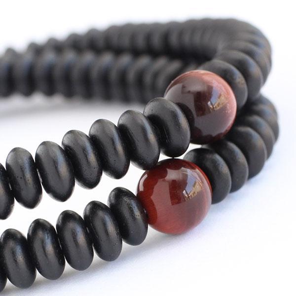 数珠 ブレスレット 108玉 みかん玉 黒檀 赤虎目石 腕輪念珠|nenjyu