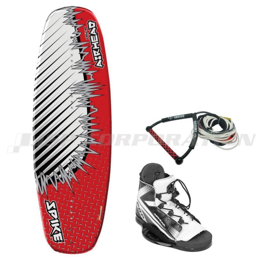 低廉 ウェイクボード3点セット 贈呈 ロープ付 スパイク 25〜30cm エアーヘッド AIR ビンディングサイズ HEAD