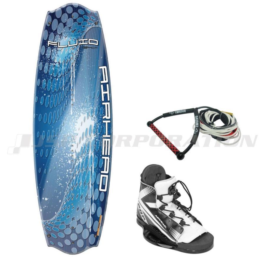 ウェイクボード3点セット ウェイクボード3点セット ウェイクボード3点セット ロープ付 フルーイッド (25〜30cm ビンディングサイズ) AIR HEAD エアーヘッド 7ca