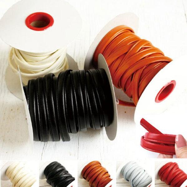( 持ち手 ) スムースストレッチレザー 四ツ折ループ 10mm(5color)【 バッグ 持ち手 カバンテープ かばんテープ 】【 商用利用可 】|nesshome