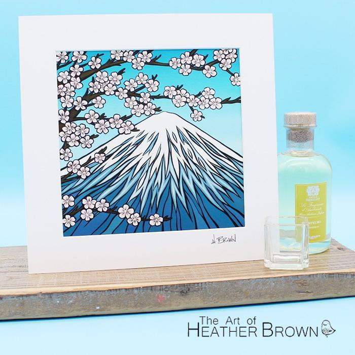 ヘザーブラウン アートプリント 絵画 HEATHER BROWN Mt.FUJI HB9305P 約31cm×約31cm 正方形 台紙付き 風景画 ハワイ サーフ サーフィン ハワイアン[ZRC]