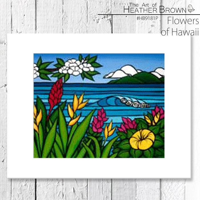 ヘザーブラウン アートプリント 絵画 HEATHER BROWN Flowers of Hawaii HB9181P 約35.5cm×約28cm縦長 台紙付き 風景画 ハワイ サーフィン ハワイアン[ZRC]