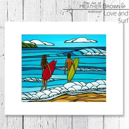 ヘザーブラウン アートプリント 絵画 HEATHER BROWN Love and Surf HB9366P 約28cm×約35.5cm横長台紙付き 風景画 ハワイ サーフィン ハワイアン[ZRC]