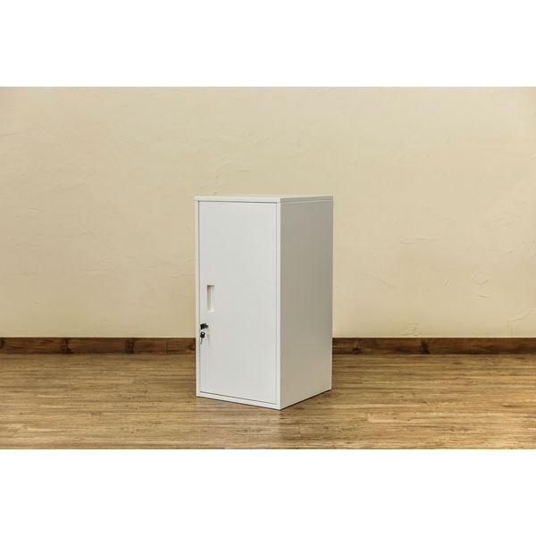 ハイタイプ 鍵付きロッカー/収納ラック 〔ホワイト〕 幅38cm スチール カギ×2個 棚板 転倒防止器具付き 連結可 『キューブBOX』〔代引不可〕 『キューブBOX』〔代引不可〕