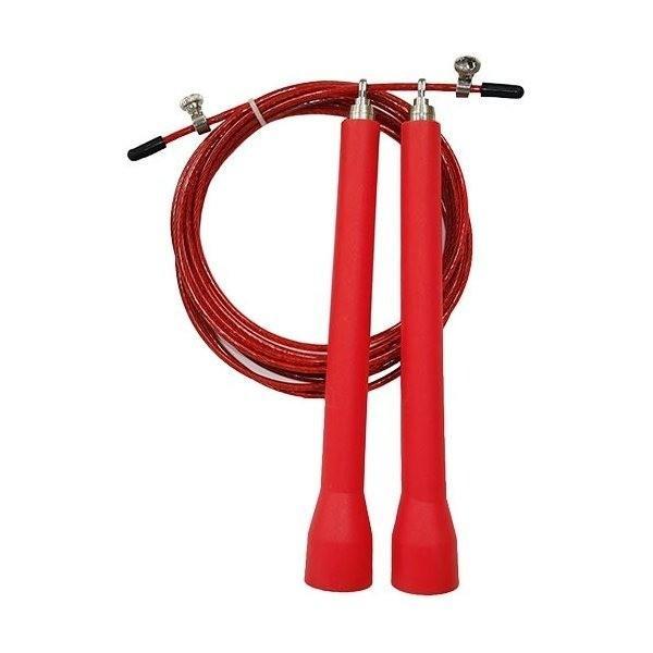 トレーニング用 縄跳び/なわとび 〔レッド 50本セット〕 ロープ3m グリップ18cm 『重さが跳びを加速させるスピードロープ』