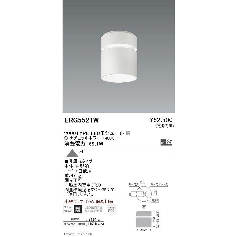 遠藤照明 遠藤照明 ERG5114W LEDシーリングダウンライト Rs-48LEDモジュール付 ナチュラルホワイト 白艶消 角度59度 [代引き不可]