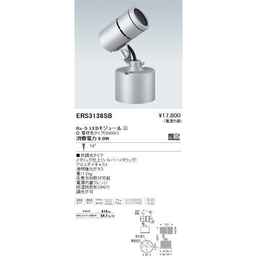 遠藤照明 ERS3138SB アウトドアスポットライト Rs-5 LEDモジュール付 電球色 16度 シルバーメタリック [代引き不可]
