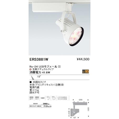 遠藤照明 遠藤照明 ERS3881W スポットライト 生鮮食品用 Rs-24 LEDモジュール付 生鮮ナチュラル 18度 非調光 白艶消 [代引き不可]