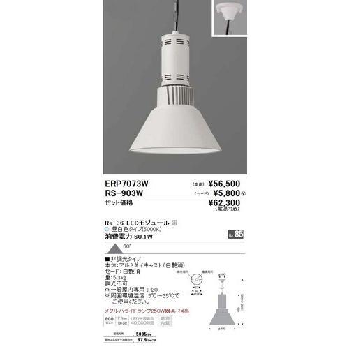 遠藤照明 遠藤照明 ERP7073W+RS903W セット品 LEDテクニカルペンダント 昼白色 LEDモジュール付 [代引き不可]