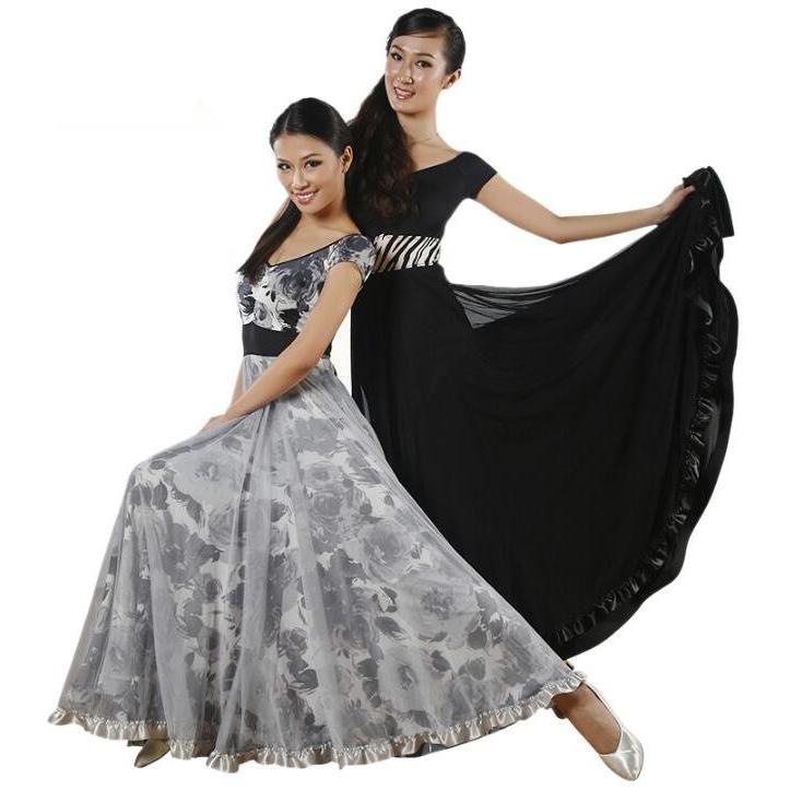 高品質社交ダンスドレス 花柄 ラテンドレス モダンドレス ロングスカート ダンスウエア 競技 デモ ダンス衣装 ワンピース