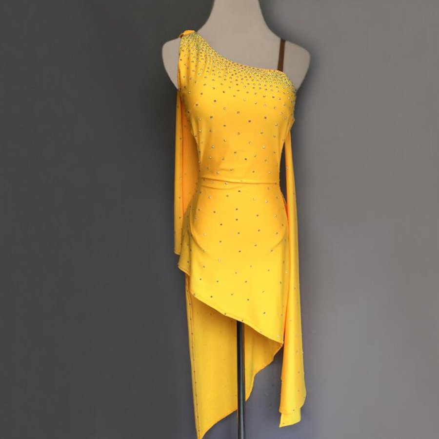 高品質 社交ダンスドレス  ラテンドレス モダンドレス ロングスカート ダンスウエア 競技 デモ ダンス衣装 ワンピース オーダーメード G97
