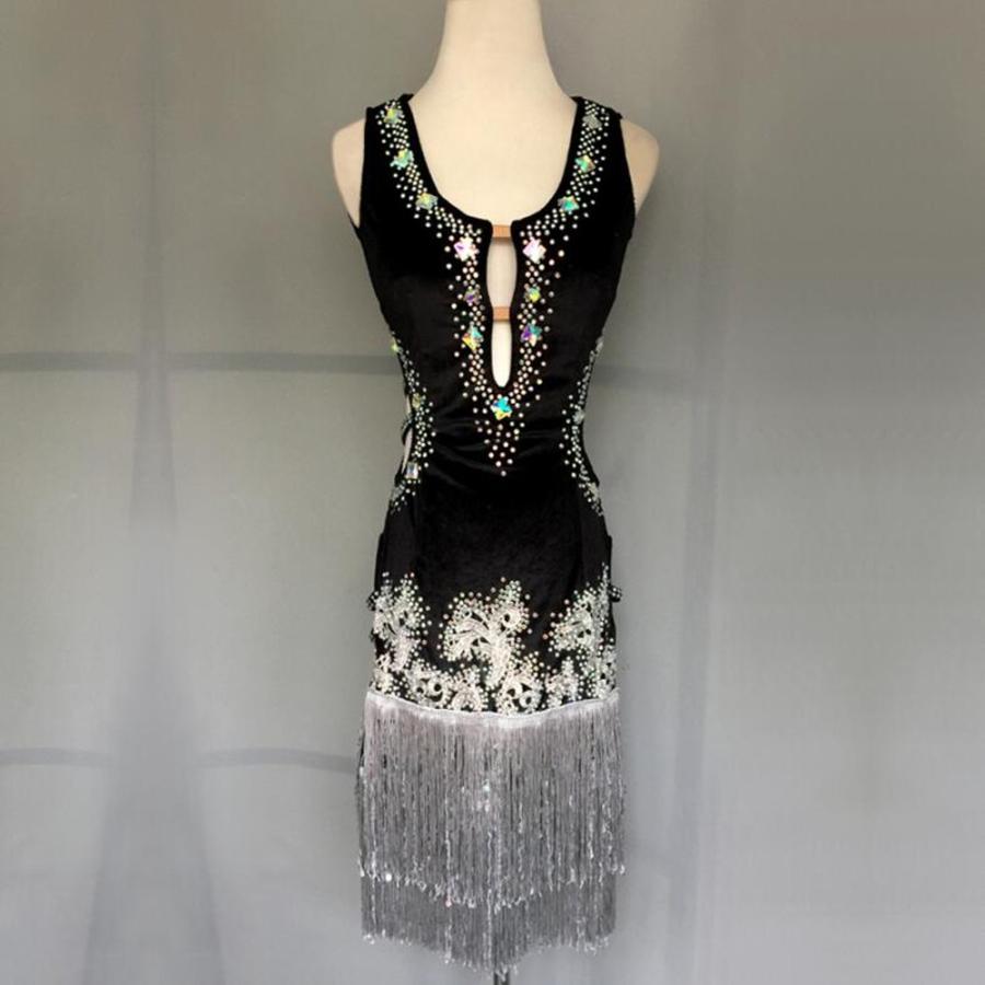 高品質 社交ダンスドレス  ラテンドレス モダンドレス ロングスカート ダンスウエア 競技 デモ ダンス衣装 ワンピース オーダーメード G81
