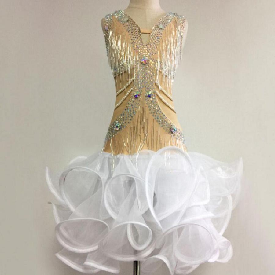 高品質 社交ダンスドレス  ラテンドレス モダンドレス ロングスカート ダンスウエア 競技 デモ ダンス衣装 ワンピース オーダーメード J48
