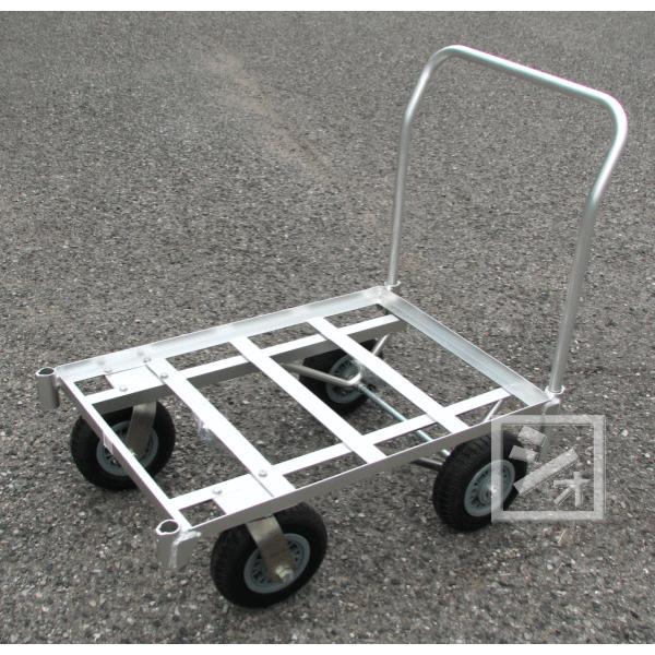 アルミ製4輪コンテナカート (駆動式) 空気入りタイヤ仕様 (台車)