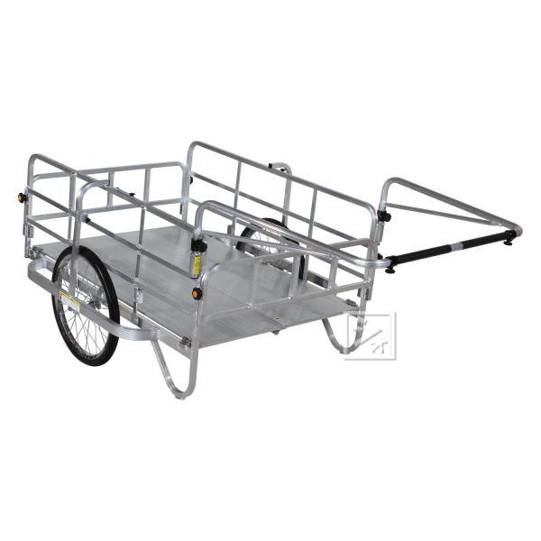 (法人配送限定) ハラックス コンパック HC-1208 アルミ製 折り畳み式リヤカー エアータイヤ
