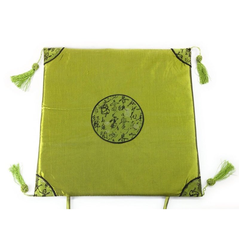 イス用座布団 薄型 中国式 クラシカルな伝統柄 グリーン メーカー公式 春の新作シューズ満載 房付き