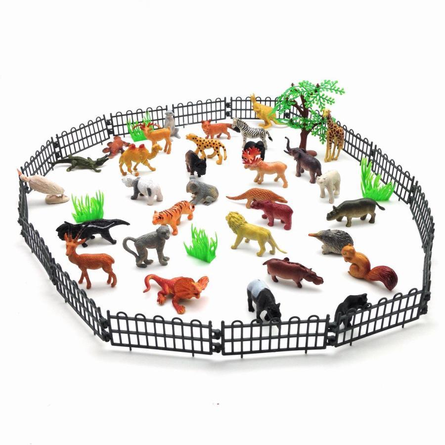 フィギュア 動物園 動物30匹 柵 木 草 セット|neustadt