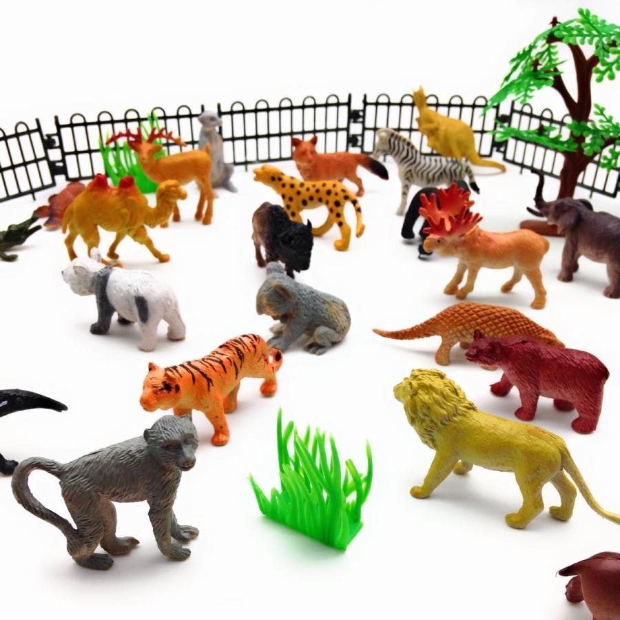 フィギュア 動物園 動物30匹 柵 木 草 セット|neustadt|02