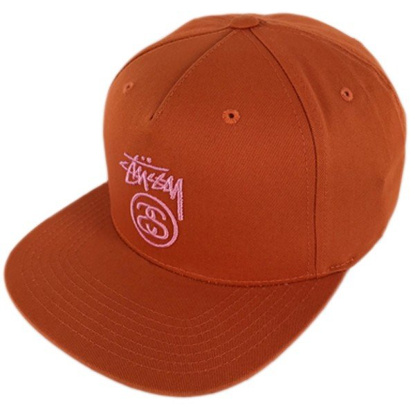 ステューシー スナップバック キャップ stock lock su18 オレンジ ピンクロゴ stussy●sbc822 neweditionhiphop