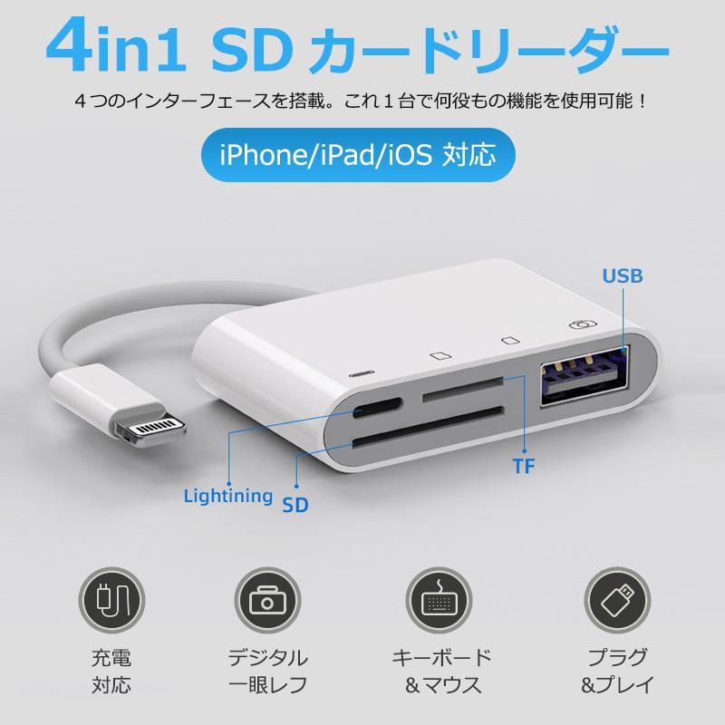 iPhone iPad 直送商品 SD カードリーダー 期間限定お試し価格 データ 転送 4in1 USB バックアップ 写真 接続