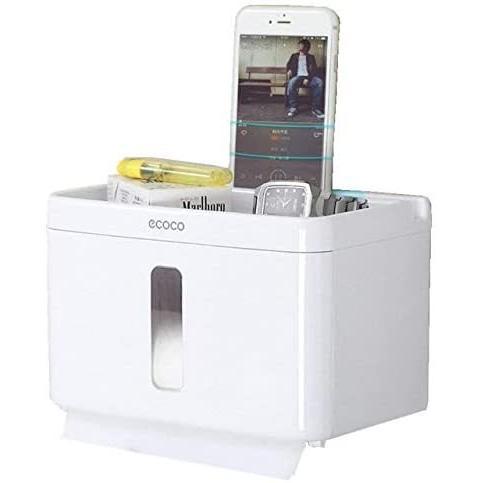 トイレットペーパー ホルダー 収納ケース ティッシュケース 強力吸盤 取付簡単 ネジなし 穴あけ不要 (ホワイト Big)|newlandjapan