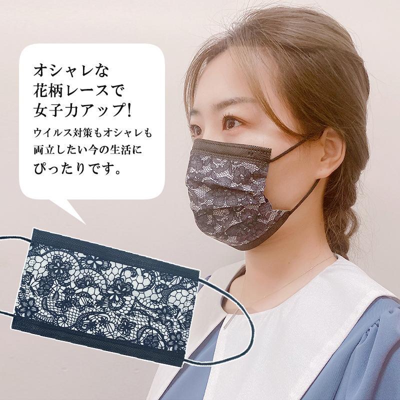 マスク レース 50枚 やわらか 不織布 99%カット ウイルス 感染症 風邪 花粉 対策 フィルター 3層構造 不織布マスク 使い捨て 優しい 黒 ブラック ブルー ピンク|newmode|03