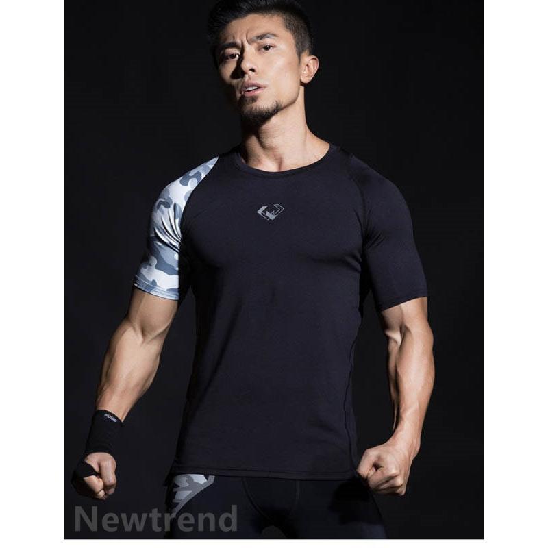 トレーニングウエア メンズ ジム 半袖 Tシャツ スポーツウェア 速乾フィットネス 筋トレ トレーニングトップス ヨガウェア 父の日 夏|newtrend-store|02