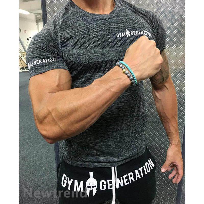 トレーニングウエア メンズ ジムスポーツウェア 吸汗  半袖 Tシャツ フィットネス 筋トレ トレーニングトップス ヨガウェア 父の日 夏|newtrend-store|04