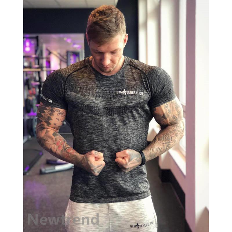 トレーニングウエア メンズ ジムスポーツウェア 吸汗  半袖 Tシャツ フィットネス 筋トレ トレーニングトップス ヨガウェア 父の日 夏|newtrend-store|05