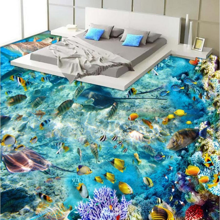 3d 壁紙 1ピース 1m2 海 珊瑚 熱帯魚 防カビ 耐水 おしゃれ クロス インテリア 装飾 床用 フロア 寝室 H H Next Dream Shop 通販 Yahoo ショッピング