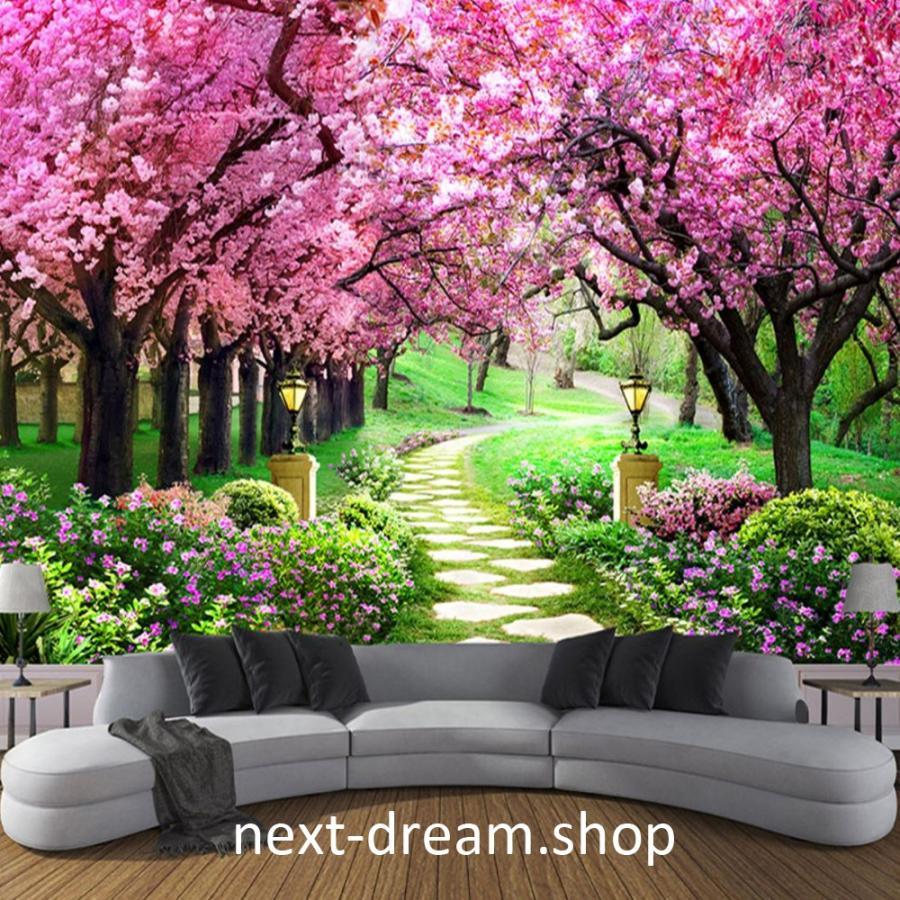 3d 壁紙 1ピース 1m2 自然風景 桜並木 花 春 ピンク 庭 おしゃれクロス インテリア 装飾 寝室 リビング H H Next Dream Shop 通販 Yahoo ショッピング
