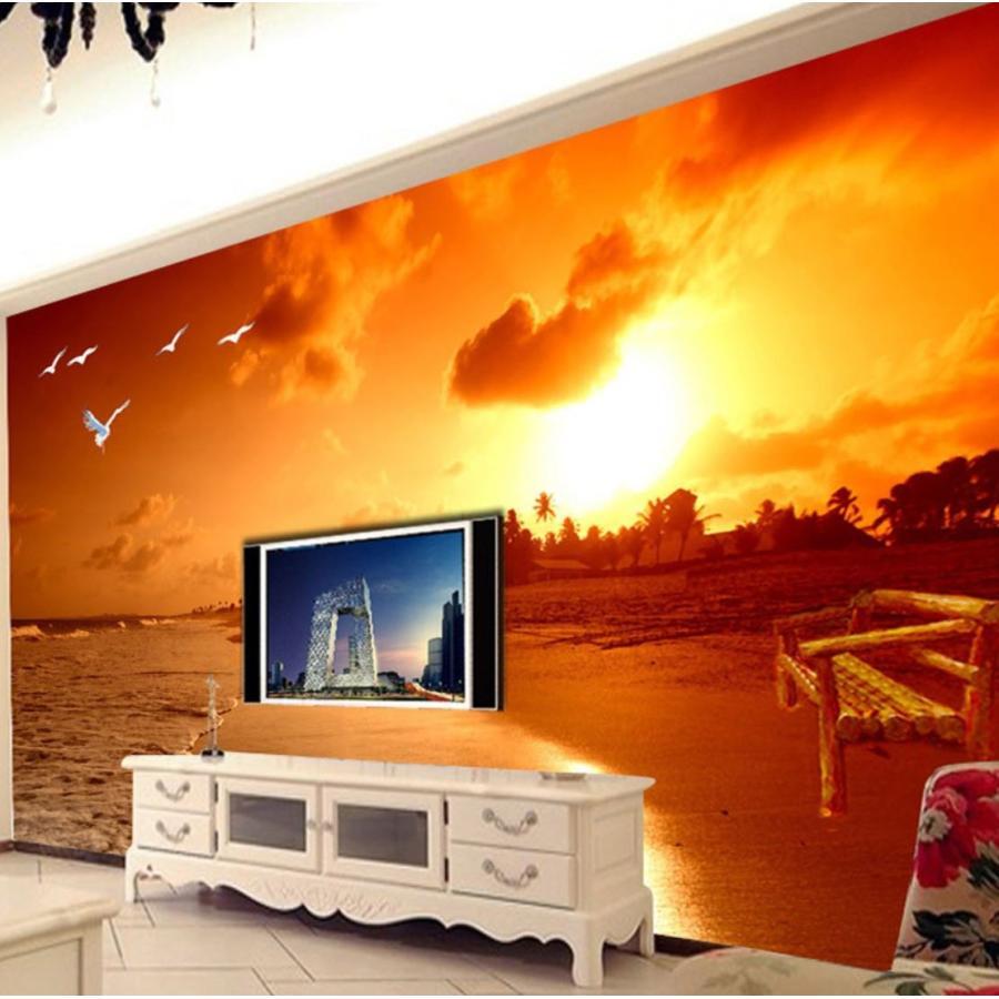 3d 壁紙 1ピース 1m2 自然風景 海 ビーチ サンセット カモメ 空