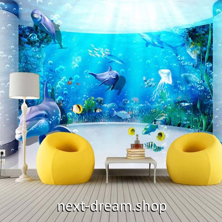 3d 壁紙 1ピース 1m2 水族館デザイン イルカ クラゲ インテリア 装飾 寝室 リビング 耐水 防湿 H H Next Dream Shop 通販 Yahoo ショッピング