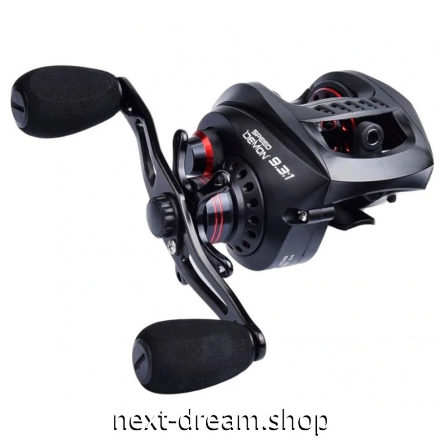 新品 ベイトリール 釣り道具 フィッシング 超軽量 9.3: 1 高速 黒×赤 右ハンドル 左ハンドル m01921