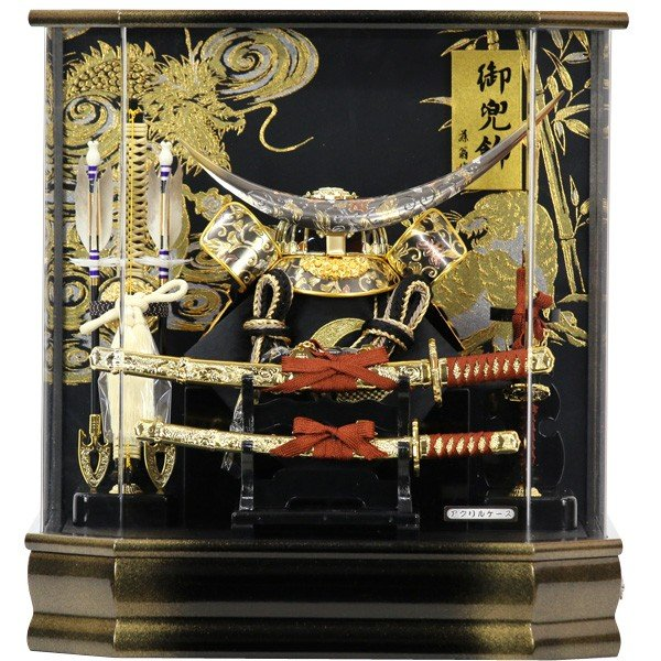 五月人形 兜飾り 兜ケース飾り ケース飾り 伊達政宗 (六角勝輝 165-743) かぶと 5月人形 端午の節句 アクリルケース オルゴール付