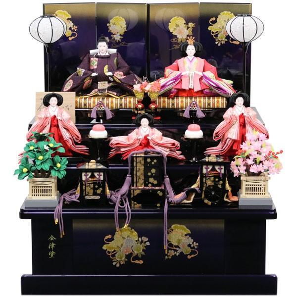 雛人形 コンパクト 衣裳着 三段飾り 五人飾り 15H165 1A3102 三段75金パープル黒 四曲12号花筏 展示現品