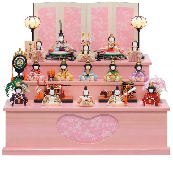 雛人形 コンパクト 一秀作 木目込み 三段飾り 十五人飾り 木目込み人形 ひな祭 お雛様 雛 おひなさま ピンク飾り台 D-24 113S81 展示現品